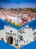 Collage of Mijas with flower pots in facades. Andalusian white village. Costa del Sol Royalty Free Stock Photography