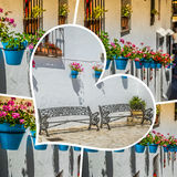 Collage of Mijas with flower pots in facades. Andalusian white village. Costa del Sol Stock Photo