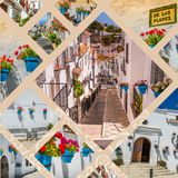 Collage of Mijas with flower pots in facades. Andalusian white village. Costa del Sol Royalty Free Stock Photo