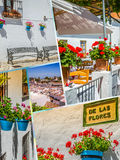 Collage of Mijas with flower pots in facades. Andalusian white village. Costa del Sol Stock Images