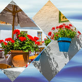 Collage of Mijas with flower pots in facades. Andalusian white village. Costa del Sol Royalty Free Stock Images