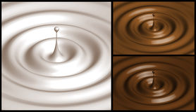 Collage of milk, caramel and chocolate. Drops, ripples and splash Stock Photography