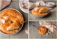 Collage milk pie with sauce royalty free stock photos