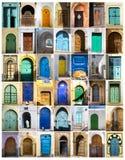 Collage mit alten Türen des Nord-Afrikas stockfoto