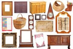 Collage mit antiken hölzernen Gegenständen Lizenzfreies Stockbild