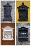 Collage mit bunten Postboxes in Brasilien. Vertikal lizenzfreie stockfotografie