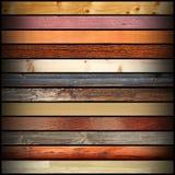 Collage mit bunten verschiedenen hölzernen Brettern Stockbild