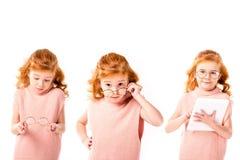 Collage mit dem Schulkind, das mit Gläsern und Tablette steht, stockfotos