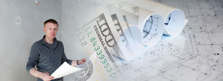 Collage mit Dollar und Rollen einer Mannholding von Plänen Stockbild