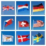 Collage mit Flaggen von verschiedenen Ländern Stockfotografie