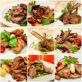 Collage mit Fleischmahlzeiten stockfoto