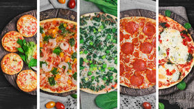 Collage mit fünf verschiedenen Arten Pizza Lizenzfreies Stockfoto