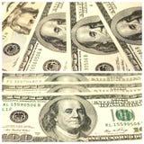 Collage mit Fragmenten von hundert Dollar banconotes Stockbild
