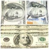 Collage mit Fragmenten von hundert Dollar banconotes Stockfotos