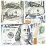 Collage mit Fragmenten von hundert Dollar banconotes Stockfotografie