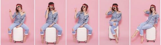 Collage mit Frau und Koffer auf rosa Hintergrund stockfotos
