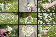 Collage mit Gänseblümchen und Mädchen stockfoto