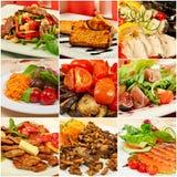 Collage mit Mahlzeiten Stockfotografie