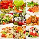Collage mit Mahlzeiten Lizenzfreie Stockfotos