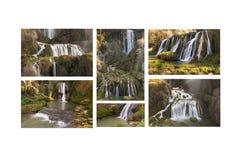Collage mit mehr Fotos von Marmore-Fall Stockbild