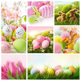 Collage mit Ostern-Dekoration stockbilder