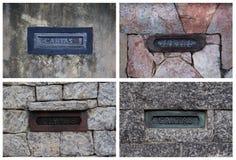Collage mit Postboxes auf Steinwänden in Brasilien Stockfoto