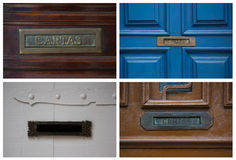 Collage mit Postboxes auf Türen in Brasilien Lizenzfreie Stockfotografie