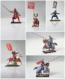 Collage mit Rittern und Samurai Lizenzfreies Stockbild