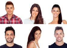 Collage mit sechs Bildern von jungen Leuten Lizenzfreie Stockfotografie