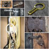 Collage mit Verschlüssen und Schlüsseln stockfotografie
