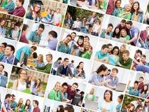 Collage mit vielen Bildern von Studenten lizenzfreies stockbild