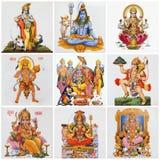 Collage mit Vielzahl der asiatischen frommen Symbole Stockbild