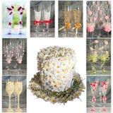 Collage mit wedding Gläsern und Blumenhut Stockfotos