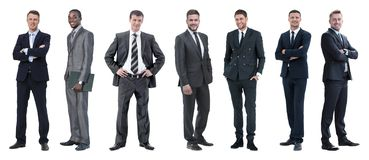 Collage of mixed age group of focused business professionals royalty free stock photo