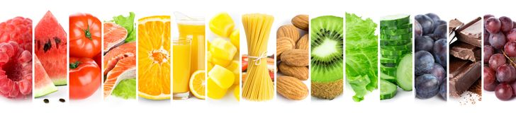 Collage of mixed fresh color healthy food stock photos