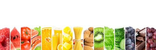 Collage of mixed fresh color healthy food. Food concept royalty free stock image