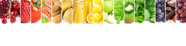 Collage of mixed fresh color ripe food Royalty Free Stock Photos