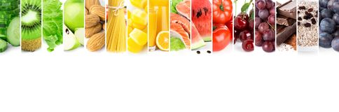 Collage of mixed fresh color ripe food Royalty Free Stock Photography