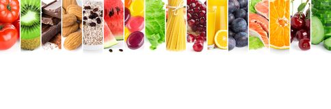 Collage of mixed fresh ripe food. Food concept royalty free stock images