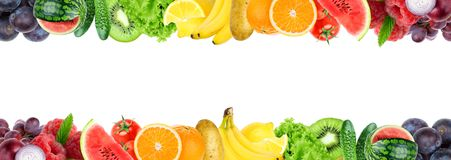 Collage of mixed fruit and vegetable. Fresh color fruits and vegetables stock image
