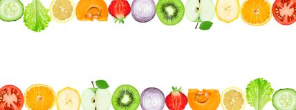 Collage of mixed fruit and vegetable slices royalty free stock photos