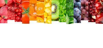 Collage of mixed fruits and vegetables Stock Photo