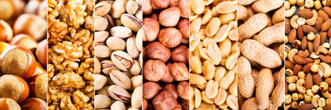 Collage of mixed nuts Royalty Free Stock Photos