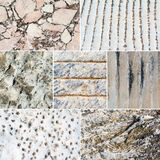 Collage of mixed stone textures Stock Photo