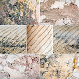 Collage of mixed stone textures Stock Images