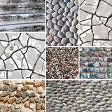 Collage of mixed stone textures. Royalty Free Stock Photos