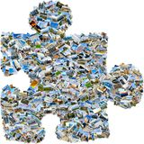 Mosaic single puzzle piece. Collage of mixed travel photos making single puzzle piece isolated on white background royalty free stock photos