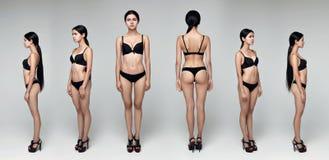 collage Modellera testar Yrkesmässig modell som poserar i studion Arkivfoto