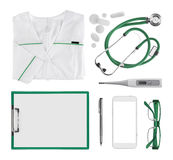 Collage of modern doctor medical objects isolated on white background Royalty Free Stock Photography