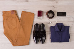 Collage of modern men's clothing. Royalty Free Stock Images